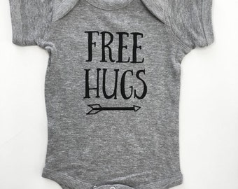 Free Hugs baby bodysuit | Heather Gray | FREE shipping