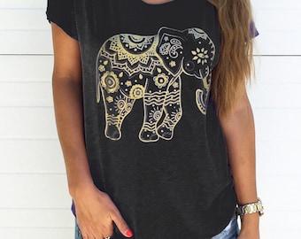 Tribal elephant dolman t-shirt