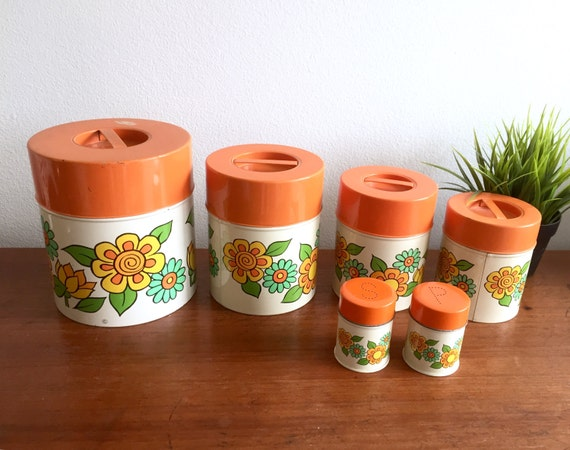 70 39 s floral canister set retro flower power canisters