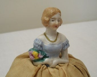 Vintage Porcelain Pincushion Doll - Half Doll Made in Japan