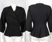 1950 Rich Black Wool Jacket with Dolman Quarter Wide Sleeves Perfect