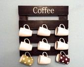 Coffee mug rack, rustic mug rack, coffee cup display, reclaimed wood, kitchen storage, kitchen decor, black mug holder, coffee mug holder