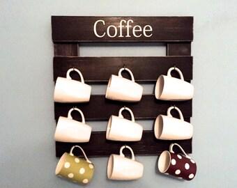 Coffee mug rack, cup display, reclaimed wood, kitchen storage, kitchen decor, black mug holder, cup rack, coffee cup hooks