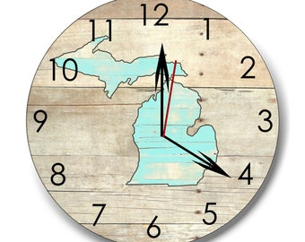Michigan clock, wood Michigan clock, wall clock, wall decor, housewares, rustic clock, mitten clock, groomsmen gift,  made in Michigan