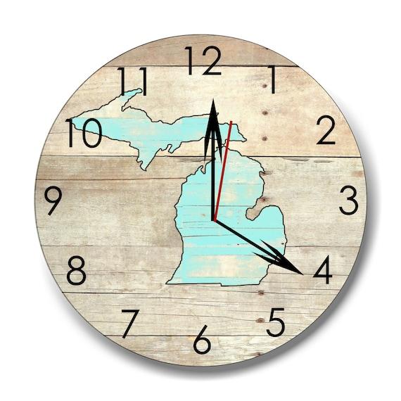 Michigan clock, wood Michigan clock, wall clock, wall decor, housewares, rustic clock, mitten clock, groomsmen gift,  made in Michigan