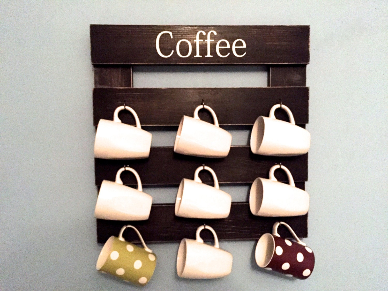 Coffee mug rack cup display reclaimed wood kitchen storage for Coffee mug display rack