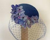 Blue fascinator-Blue silk cocktail hat-Blue bridal hat-Wedding hat-Birdcage veil..