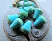 NEW TURQUOISE CONES .  Czech Picasso Glass Beads . 6 mm by 8 mm (10)