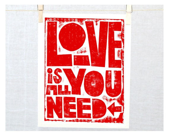 Love is all you need, Typography Poster, Fine Art Print, Baby Nursery Wall Art