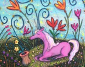 Pink Unicorn in Fanciful Garden Pop Art Happyart Painting