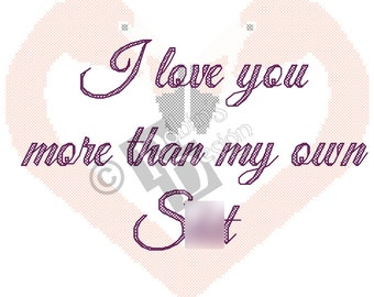 I Love You More Than My Own S%#t Cross Stitch Pattern PDF