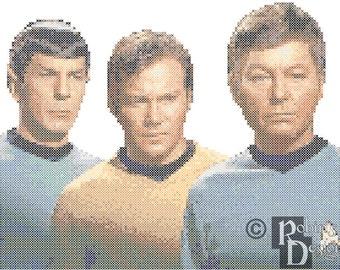 Kirk, Spock and McCoy Star Trek Cross Stitch Pattern PDF