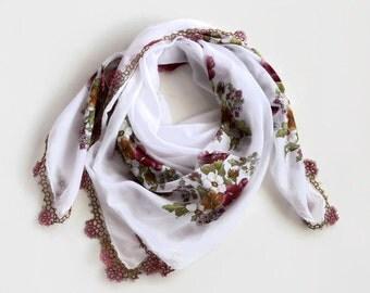 Bohemian Scarf Cheesecloth Bandana Turban Scarf, Muslin White Pink Boho Fashion Authentic Scarf,  Tatting Lace Trim,  OOAK