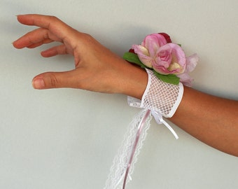 Floral Wrist Corsage, Lacy Bridal Wrist Corsage Flower, Pink Rose Flowers. Elastic Band Cuff. OOAK. Handmade
