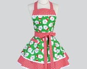 Ruffled Retro Apron - Christmas Santa Red and Green Polka Dot Holiday Apron Ideal Gift to Personalize or Monogram