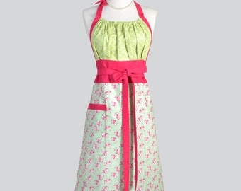 Cute Kitsch Retro Aprons - Full Kitchen Womans Apron in Vintage Pink Roses on Soft Lime Green Handmade Hostess Cooking Chef Womens Aprons