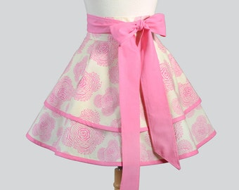 Womens Waist Aprons / Amy Butler Modern Meadow in Cotton Candy Pink in our Double Ruffled Cute Flirty Retro Half Apron