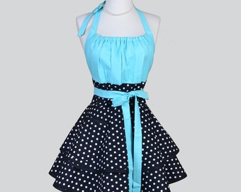 Flirty Chic Apron , Azure Blue and Black and White Dots Two Layer Skirt Cute Flirty Sexy Retro Womens Apron