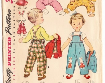 Vintage 1953 Simplicity 4417 Sewing Pattern Toddler's Overalls, Jacket and Hat Size 1/2