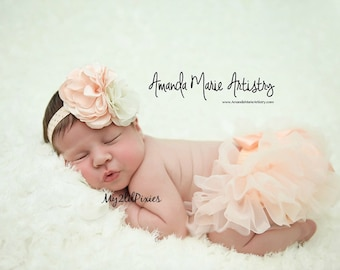 Baby Girl tutu Bloomer and HEADBAND Set- baby girl Headband, Baby Girl set, Photo Prop Set, Newborn Photos, Cake smash-Ready to ship