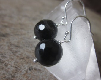 Black Agate Orb Earrings, Faceted Gemstone Rounds, Banded Agate, 925 Sterling Silver, Bridesmaid Jewellery, Canadian Seller, Modern earrings