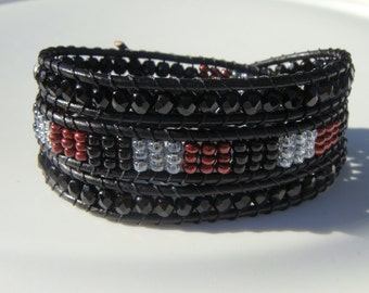 Black, Gray and Maroon Beaded Leather Wrap Bracelet