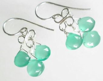 Gemstone Chandelier Earring Aqua Drop Earring Aqua Chalcedony Earring Sterling Silver Chandelier Earrings
