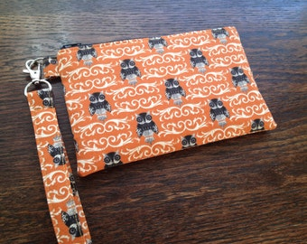 Halloween Owls Damask Fabric Wristlet with lining and strap