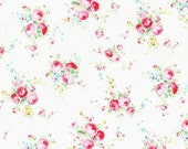 Flower Sugar Spring 2015 Pink Roses Cotton Fabric  by Lecien 31130-10 Cream
