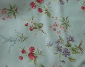Yuwa Cotton Fabric Fourson Collection Berries and Wildflowers on Pale Blue