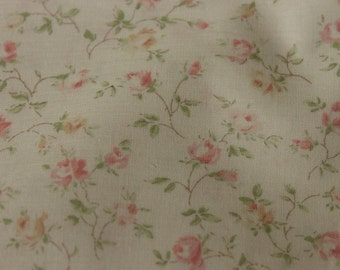 Yuwa Live Life Cotton Fabric 826078A Tiny Roses on Light Cream