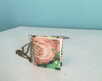 Vintage Rose Print Blank Mini Book Pendant Necklace