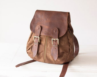 Mini backpack in brown waxed canvas and leather for women,back bag  rucksack knapsack - Mini Artemis backpack
