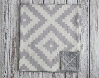 Cream and Gray Aztec Baby Blanket, Gray Minky Baby Blanket, Gray Baby Blanket