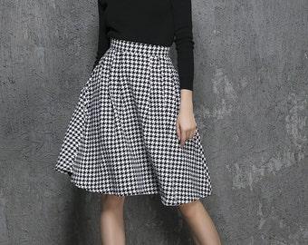 houndstooth skirt, wool skirt, circle skirt, short skirt, womens skirts, skater skirt, cute skirt, winter skirt, full skirt, gift ideas 1342