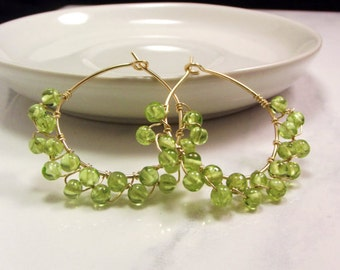 Peridot Hoop Earrings in 14k Gold-AdoniaJewelry
