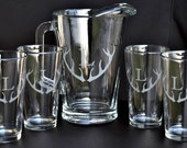 Etched Deer Stag Horn Antler Beer Pitcher and Pint set  for Home Brew Bar Set  by Jackglass on Etsy.com