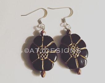 Black & Gold Dangle Earrings