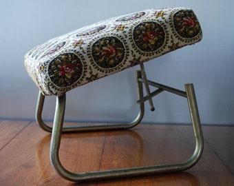 Vintage Foot Stool - Laz - E - Rest - Adjustable Stool/ Hassock - Floral Tapestry -  Mid Century