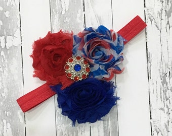 4th of July Headband, Red White Blue Flower Headband, American Pride Patriotic, Independence day, Infant  Headband, Baby Headband, Newborn