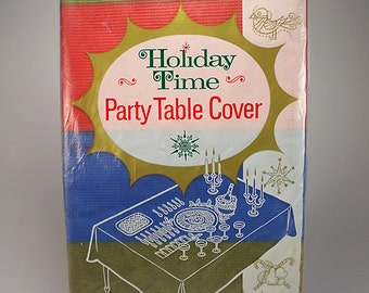 Holiday Time Party Paper Table Cover, Green, Red, Blue, 54 x 96, NEW, Tablecloth, Party Table Decor, Wrapping Paper