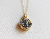 Druzy Necklace | Small Round Druzy Pendant Necklace | Grey and Gold Necklace