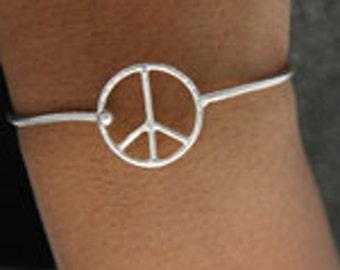 Hippie Peace Bracelet Sterling Silver