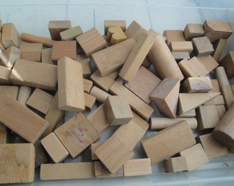 Vintage Wood Blocks 100 Pieces Natural