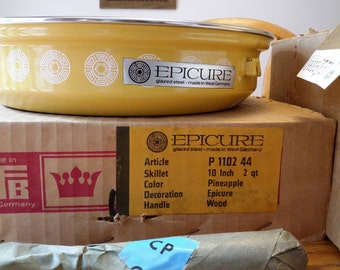Vtg BFB Epicure Medallion Pineapple Yellow Porcelain Glazed Steel 3 Qt Covered Sauce Pan and Skillet Set West Germany