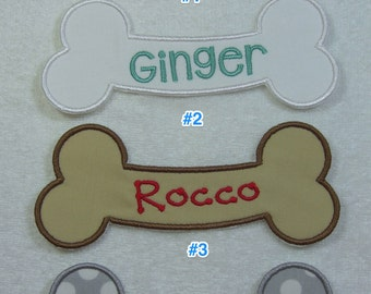 Name Patch for Pet (Bone Shape) Single Name Patch 4 Font/Color Choices Fabric Embroidered Iron On Applique Patch MADE TO ORDER