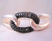 MILOR Italian Black Onyx Sterling Silver Hinged Cuff Bracelet Vintage Jewelry Jewellery