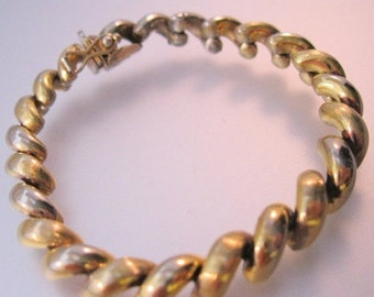 """15% OFF SALE Vintage Italian Sterling Gold Wash Curb Link Bracelet Signed SU Small Size 6 5/8"""" Fine Jewelry Jewellery"""