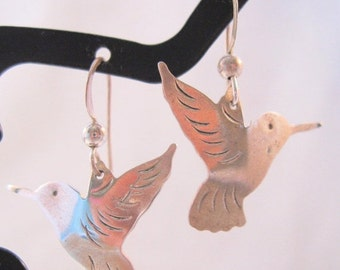 BIGGEST SALE of the Year Hummingbird Sterling Earrings Pierced Drop Dangle Vintage Jewelry Jewellery