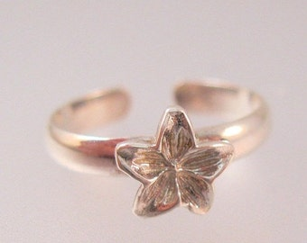 BIGGEST SALE of the Year Vintage Hawaiian Plumeria Toe Ring Sterling Silver Adjustable Signed PCU Jewelry Jewellery